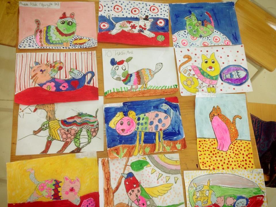 Tiết học vẽ và trang trí con vật yêu thích